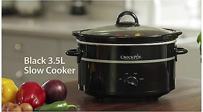 New Large Slow Cooker Crock-Pot Easy Multi-Cooking Settings Kitchen 3.5L Black
