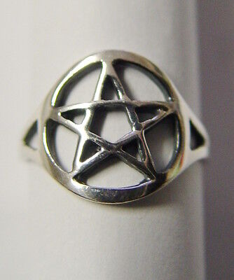 RING: SIZE 6 PENTAGRAM - SILVER PLATED - Wicca Pagan Witch Goth Punk Occult