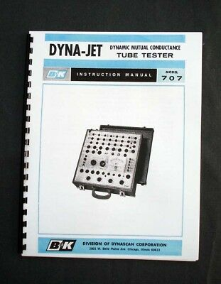 B&K DYNA-JET 707 Tube Tester Manual, Tube Data