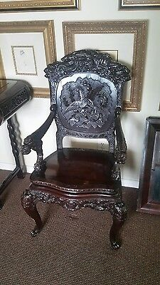 1850's Antique Chinese Dragon Chair Hand Carved Rosewood RARE (SALE)