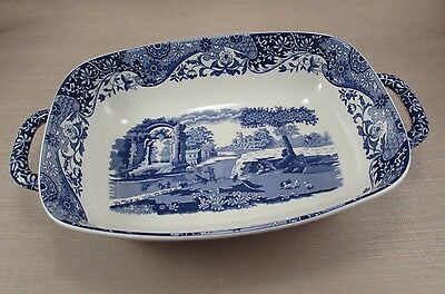"Spode China ITALIAN Blue Rectangular Handled Bread / Serving Dish - 14"" - New"