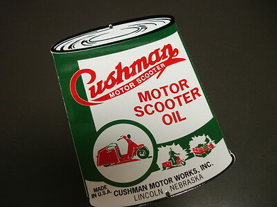CUSHMAN Can Oil/Gasoline Porcelain Advertising Sign