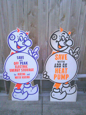 Pair of Vintage Reddy Kilowatt Advertising Sign Standing Store Display Standie