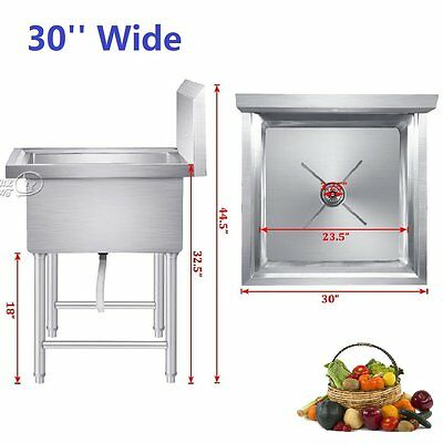 Commercial Laundry Room Stainless Steel Kitchen Utility Sink Free Standing + Leg