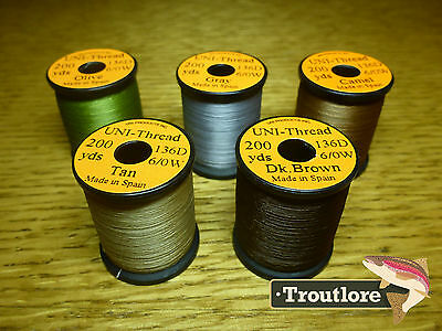 5 x SPOOLS 6/0 UNI THREAD COLOUR SELECTION 1  NEW FLY TYING SUPPLIES & MATERIALS