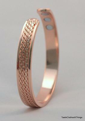 Pure Copper Magnetic Bracelet Bangle Cuff flat triple rope twist – New