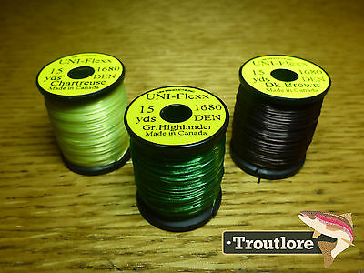 3 x SPOOLS UNI FLEXX BODY MATERIAL COMBO 1 NEW FLY TYING THREAD & MATERIALS