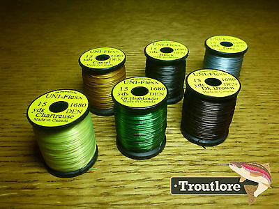 6 x SPOOLS UNI FLEXX BODY MATERIAL COMBO NEW FLY TYING THREAD & MATERIALS