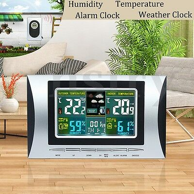 Digital LCD Wireless Indoor/Outdoor Weather Station Temp Thermometer Alarm Clock