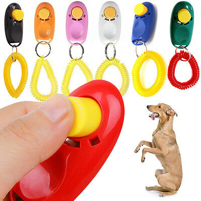 New Aid Clicker Trainer Training Wrist Strap Black Obedience Pet Click Agility