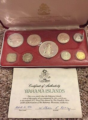 1972 Bahama Islands Proof Set 9 coins with Box With COA