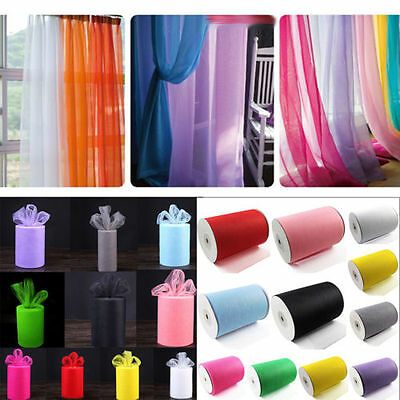 UK Tulle Roll 6 Inch x 25 Yards Tutu Skirt Fabric Wedding Party Chair Bows Decor