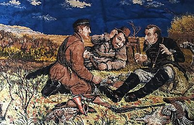 LARGE VINTAGE TAPESTRY WALL HANGING COUNTRY HUNTING SCENE Apprx 120 X 180cm