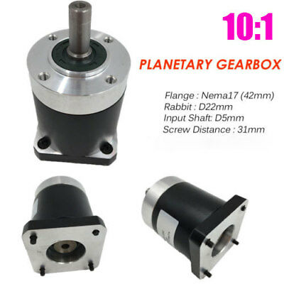 Stepper Nema17 Planetary Geared Ratio 10:1 L41mm Speed Reducer Gearbox CNC