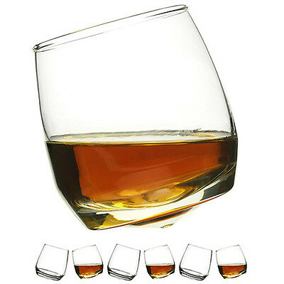Gift Boxed Set Of 6 Whiskey Glass With Wobbly Bottoms