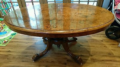 19th Century Burr Walnut? Oval fold over dining table loo antique **Stunning**