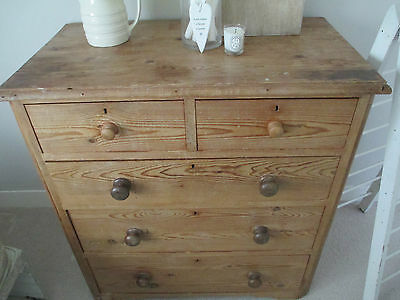 Victorian Old Pine Antique Chest of Drawers Large Vintage Shabby Chic