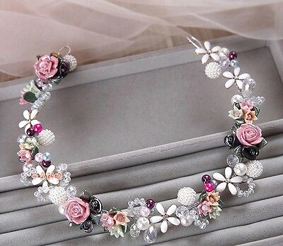 Stunning Bridesmaids Bridal Flower Rose Pearl Multicolour Hair Piece Tiara