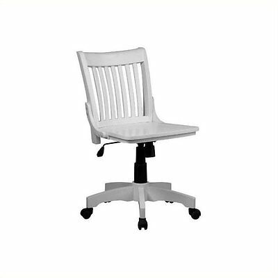 Office Chair for Computer Desk Executive Task Armless with Seat in White