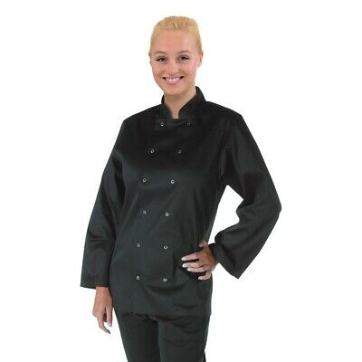 Whites Vegas Chefs Jacket Long Sleeve Black S BARGAIN