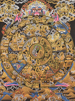 "20"" Tibetan Hand Painted Mineral Color Thangka:samsara Bhavachakra,wheel Of Life"