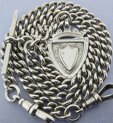 Antique Solid Silver Double Albert Watch Chain T-Bar & Fob Chester 1919 15 1/2""