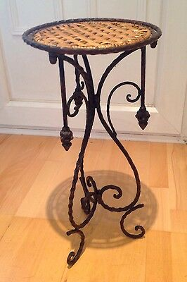 Beautiful Arts And Crafts Wrought Iron Table With Wicker Top