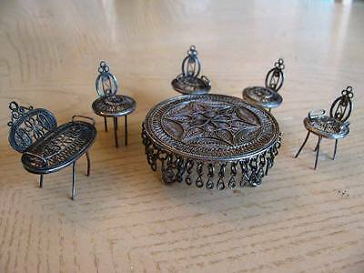 Vintage Dollhouse miniature furniture Filigree silver chair table bench set
