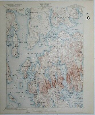 Mount Desert Maine Cranberry Isles Blue Hill Bay vintage 1918 USGS coast chart