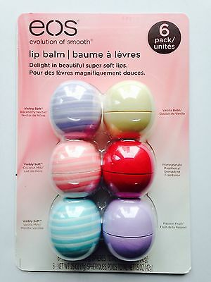 NEW EOS Evolution Of Smooth Lip Balm 6 Pack Includes 3 New Visibly Soft Flavours