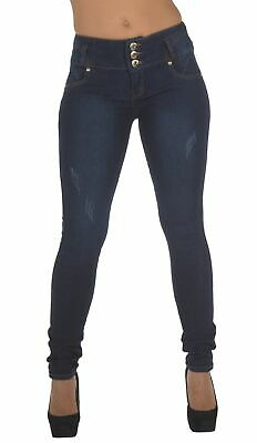 Style N552P- Plus Size, Colombian Design, Butt Lift, Skinny Jeans in Navy Size