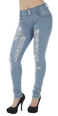 N1381TM-R – Levanta Cola, Destroyed, Ripped, Mid Waist, Sexy Skinny Jeans in