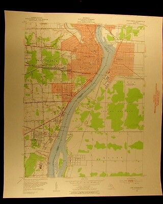 Port Huron St. Clair River vintage Michigan 1952 old USGS Topographical chart