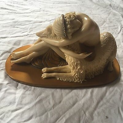Borzoi and Nude Woman Statue--Reproduction (Resin Casting)