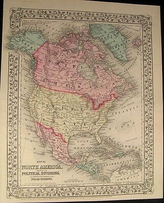North America USA Canada Texas Indian Territory 1870 old antique map