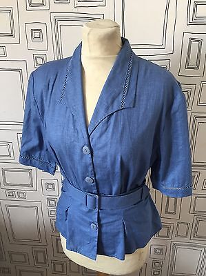 Vintage 80's  Blue Linen Blend Belted Blouse Uk 12 Medium