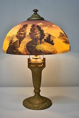 "Phoenix Reverse Painted Landscape table Lamp 16"" Shade"