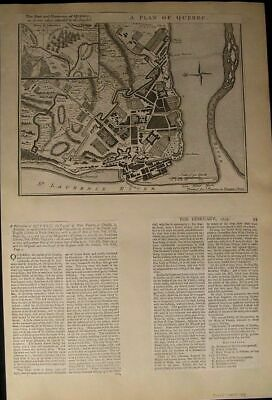 Quebec Canada Fortified City British War Ships 1759 rare antique city plan map