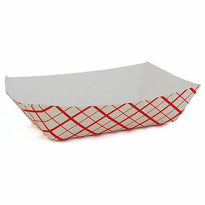 Red and White Disposable Paper 1-Pound Food Trays Outdoor BBQ Cardboard Plates