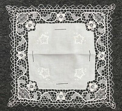 """17"""" White Cotton Embroidery Handmade Needle Lace Crochet Doily Doilies Placemat"""