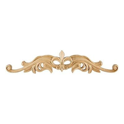 "20 Inch- Hand Carved Wood Fleur de Lis Onlay-20"" x 7/8"" x 4-3/16"" - # ONL-08-20"