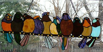 Stain Glass Birds On A Branch 24.25 X 9.25