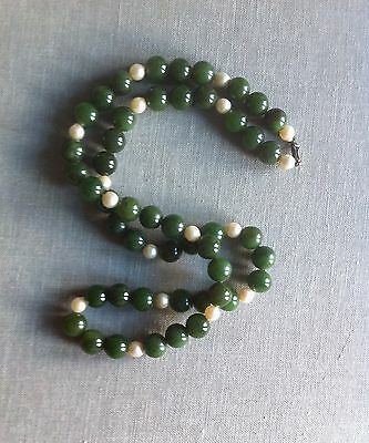 Antique Vintage Chinese Green Jade & Pearl Bead Necklace Sterling Silver Clasp