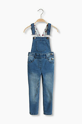 NEW Esprit Kids Stretch denim dungarees w heart lining DARK TURQUOISE 2