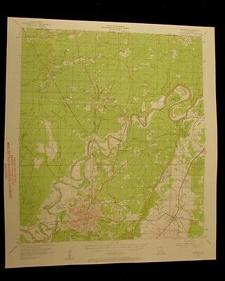 Bastrop Louisiana 1957 vintage USGS Topo color chart map