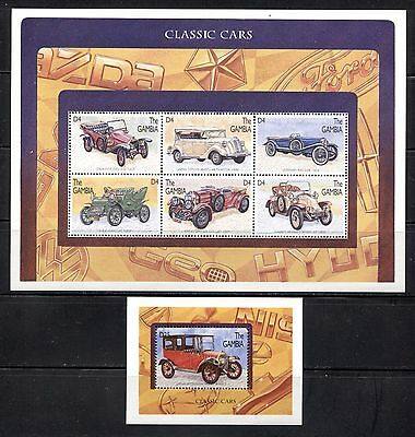 AUTOMOBILES, CLASSIC CARS ON GAMBIA 1996 Scott 1746 + 1748, MNH