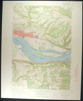 Washougal Washington Oregon Clark Co. 1971 vintage USGS original Topo chart map