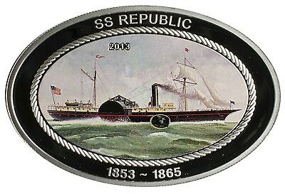 2013 $5 Cook Islands SS Republic .925 Silver Colored Proof Coin w/ Coal Insert