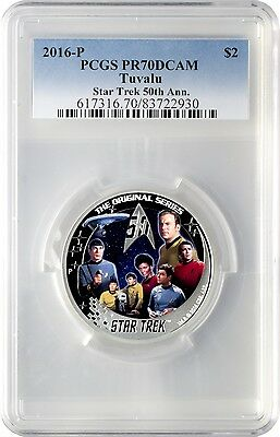 2016-P $2 Tuvalu Star Trek 50th Anniversary .999 Silver Proof Coin PCGS PR70DCAM