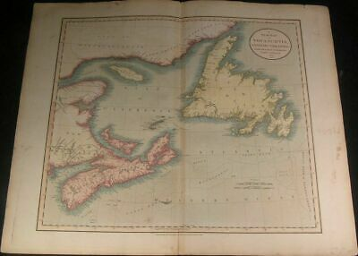 Canada Nova Scotia Newfoundland Fundy Bay 1807 large old Cary hand color map